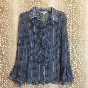 CAbi Plaid Button Up Blouse with Ruffles